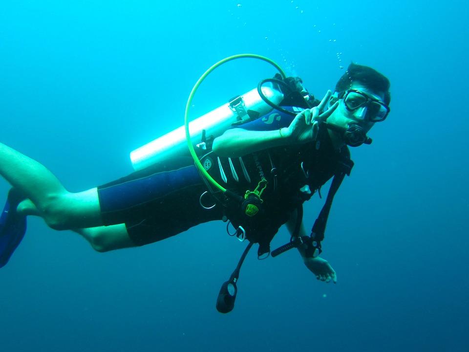 Diver in open water