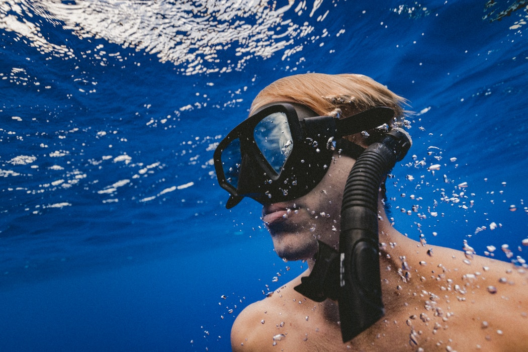 Scuba diving just under the surface